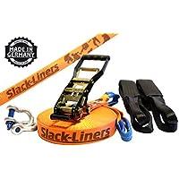 Slack-Liners 6 Teiliges Slackline-Set ORANGE - 50mm breit, 25m lang - mit Langhebelratsche Made in Germany