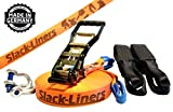 6 Teiliges Slackline-Set ORANGE - 50mm breit
