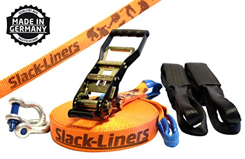 6 Teiliges Slackline-Set ORANGE - 50mm breit, 25m lang - mit Langhebelratsche - Slack-Liners - Made in Germany