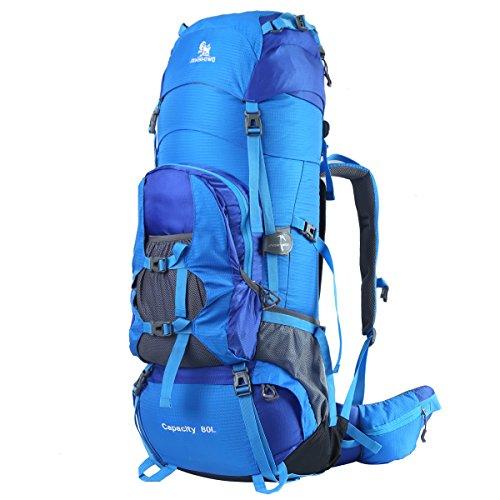 HWJIANFENG Trekkingrucksack Wanderrucksack Reiserucksack - XXL Kapazität 80L - Ultraleicht, strapzierfähig - Perfekt für Camping/Wandern/Bergsteigen/Reisen