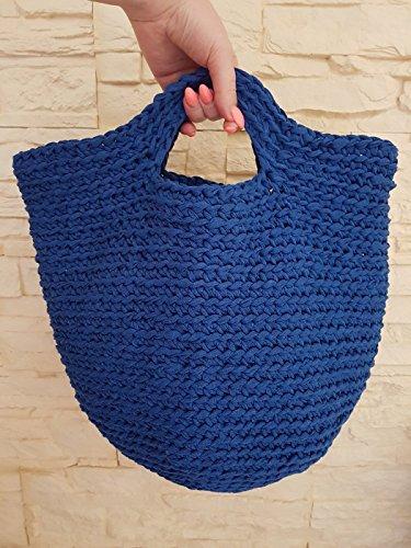 Häkeln Handtasche (Gehäkelte Handtasche aus Baumwolle blau)