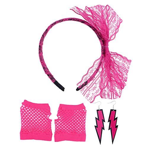 Zubehör Handschuhe Nylon Kostüm - YeahiBaby 80er Jahre Phantasie Outfit Kostüm Zubehör Set Stirnband Ohrringe Netzhandschuhe Set Achtziger Jahre Party Supplies (Rosy)