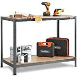 VonHaus Workbench Table Boltless Worktable Metal Shelving Storage Racking Massive 500Kg Capacity