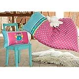 Kleine Eule Kinderbettwäsche, Farbe:fuchsia weiss gepunktet;Größe:100x135 + 40x60
