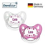 Dentistar Silikon Schnuller 2er Set inkl. 2 Schutzkappen - Nuckel Größe 1 von Geburt an, 0-6 Monate - zahnfreundlich und kiefergerecht | Lea