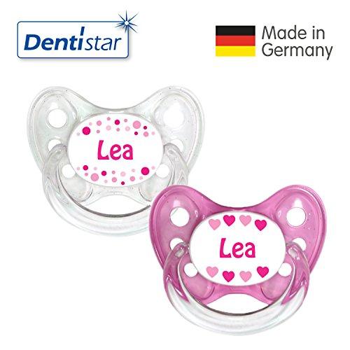 Dentistar® Silikon Schnuller 2er Set inkl. 2 Schutzkappen - Nuckel Größe 1 von Geburt an, 0-6 Monate - Beruhigungssauger für Babys - LEA