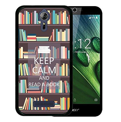 WoowCase Acer Liquid Zest Plus Hülle, Handyhülle Silikon für [ Acer Liquid Zest Plus ] Keep Calm and Read a Book Handytasche Handy Cover Case Schutzhülle Flexible TPU - Schwarz