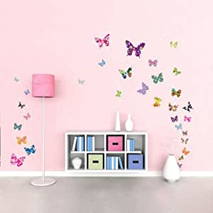 Decowall DW-1201 38 Papillons Colorés Autocollants Muraux Mural Stickers Chambre Enfants Bébé Garderie Salon