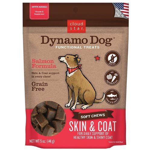 Cloud Star Dynamo Dog Skin and Coat Functional Treat Pouches, Salmon, 5-Ounce by Cloud Star Corporation -