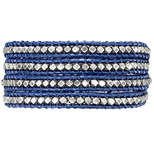 Rafaela Donata Bracelet Cuir véritable bleu Beads métal couleur argent