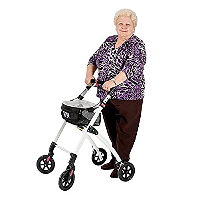 Aluminium Rollator KMINA I Lightweight walker for adults I Foldable rollator with 4 wheels I Walking aid with tray and a basket available in blue or black