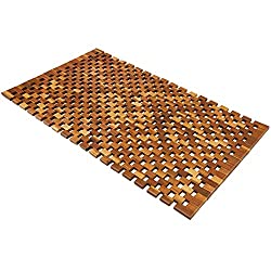 Deuba® Wooden Bath Mat Duckboard | FSC® Certified Acacia Wood | Non Slip Bathroom Spa Shower Mat Sauna Mosaic Rectangular Luxury Modern Doormat 80x50 cm
