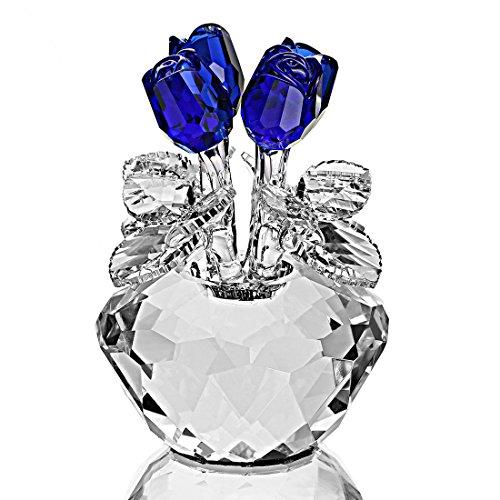 H&D Kristall Glas Blumen blau Rose Figur mit Geschenkbox