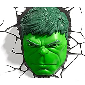 Marvel avengers hulk head 3d deco wall led night light art for Decoration murale tete de taureau