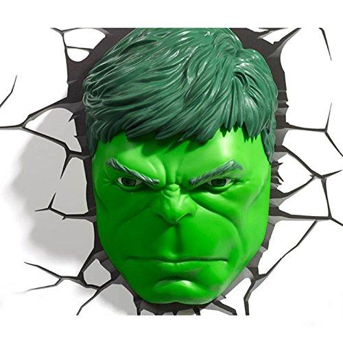 Desconocido Marvel Los Vengadores Lámpara 3D con diseño de cabeza de Hulk, para pared, decoración de habitación