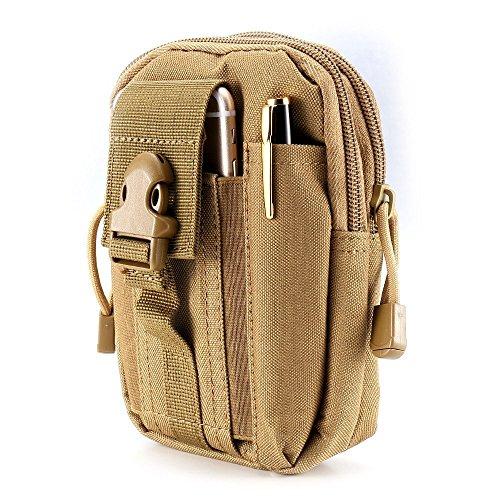 fourHeart Taktische Tasche Molle Gürteltasche Hüfttaschen mit Handy Holster für iPhone 6 Plus, Kompaktes EDC Dienstprogramm (Khaki) Das beste Geschenk zum Valentinstag (Khaki Plus)