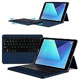 ELTD Samsung Galaxy Tab S3 (9,68 Zoll) Tastatur, Detachable Bluetooth Tastatur (QWERTZ Tastatur) mit Standfunction für Samsung Galaxy Tab S3 T820 / T825 (9,68 Zoll) 2017, Blau