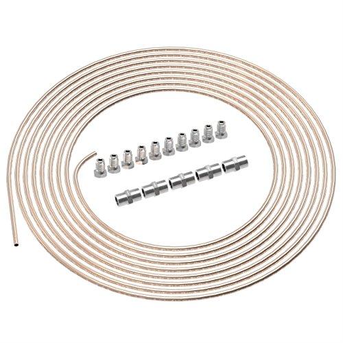 AUPROTEC 10m Bremsleitung Ø 4,75mm Kunifer im SET + 10 Verschraubungen + 5 Verbinder M10 x 1 DIN 74 234 konform Kupfer-Nickel Bremsrohr im Sortiment für Bördel F