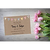 Personalised Save The Date Wedding Birthday Christening Night Evening Cards X 10 Kraft Bunting Postcard A6 SD316