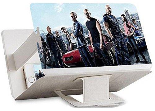 Universal tragbarer Falten Smartphone 3D Screen Magnifier für alle Smartphone Arten. Smartphone Bildschirm Vergrößerungslupe mit 3D Effekt. WEIß WHITE