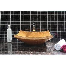 CAPSTONA Naguesha Yellow Marble Designer Bathroom Washbasin, 405 x 405 mm