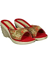 Cordwain PW04 Belly Style Women's Synthetic Wedges Heel Wedges Heel Slippers | Ladies Slippers | Red Slippers...