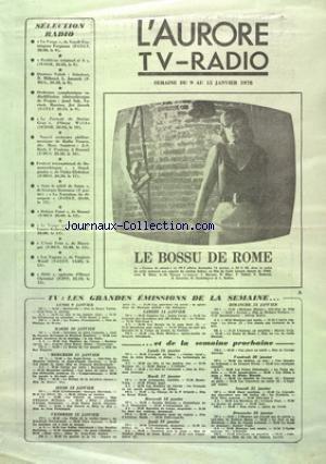 AURORE TV RADIO (L') du 09/01/1978 -...