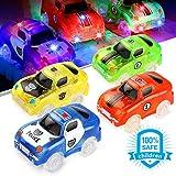 Sunyjoy 4 Auto Bagliore, Piste da Corsa, 4 Auto da Corsa Luminose, Macchinine Luminose, Auto Regalo di Gioco per Bambini 3 4 5 6+