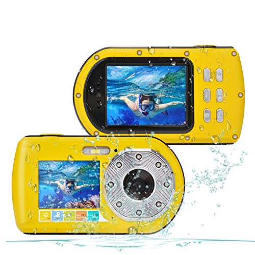 CamKing wasserdichte Kamera HD 1080P 24 MP, DES1 16X Zoom Unterwasser Digitalkamera, Selfie Dual Display 2.7 und 2.0 Zoll Bildschirm DV Aufnahme 10M (33ft) wasserdichte Action Digitalkamera (Gelb)