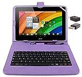 DURAGADGET Etui aspect cuir violet + clavier intégré AZERTY (français) pour tablettes Acer Iconia Tab A700 / W700 et W500, A210/A211, A510 10,1' + stylet tactile et adaptateur micro USB vers USB BONUS