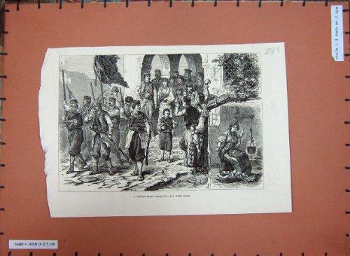 Original old antique victorian print 1880 Montenegriner-Hochzeits-Heirat-Straßen-Prozession