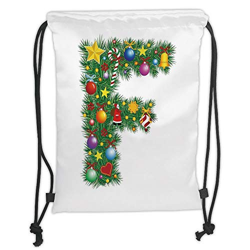 Trsdshorts Drawstring Backpacks Bags,Letter F,Christmas Bells Santa with Gifts Colorful Candies on Pine Design Capital F Print Decorative,Multicolor Soft Satin,5 Liter Capacity,Adjustable STR