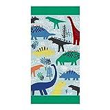 Langde Telo Mare 100% Cotone Morbido, Dinosauri Animali Stampa Cartoni Animati, 80x160cm, Asciugamano da Spiaggia Viaggio Piscina, Teli Bagno Assorbente per Bambina & Adulto - Verde
