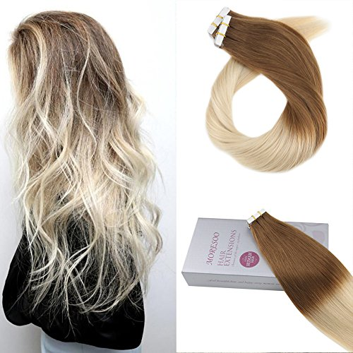 Moresoo 18 zoll 20PCS Hair Extensions Tape in Real Menschliches Haar 50G Invisible Tape in Remy Menschliches Haar Dip Dyed Brown #8 Ombre to Platinum Blonde #60 Human Remi Hair Extensions (Hair Extensions Human Hair Remi)