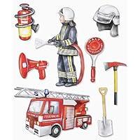 Stickerkoenig Wandtattoo 3D Sticker Wandsticker - Feuerwehr, Feuerwehrmann, Feuerwehrauto Wagen #537 Kinderzimmer Deko auch für Wände, Fenster, Schränke, Türen etc auf Bogen