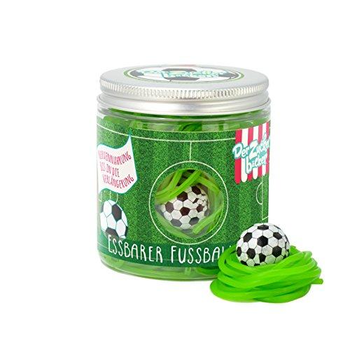 Der essbare Fußballrasen – 150g Süßigkeitendose mit fruchtigen Apfel-Fruchtgummi-Schnüren und Kaugummi-Ball