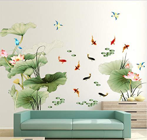 Große 97X225 Cm Chinesischen Stil Lotus Blume Wohnzimmer Dekor Wandaufkleber Sofa Wandtattoos Poster Vintage Stikers Kunst 97X225 Cm