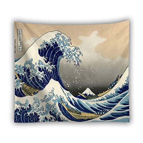 HUOLEO Welle Tapisserie Wandbehang, Kunst Natürliche Hause Dekoration Wandtuch Strandtuch Für Schlafzimmer Wohnzimmer-F-150X100cm(59X39.4in)