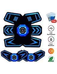 SUPOLA Electroestimulador Muscular Abdominales, Entrenador Muscular EMS Estimulador con Transmisión de Voz Inteligente & USB Recargable, Abs Trainer para Abdomen/Brazo/Piernas/Cintura,10pcs Gel Pads