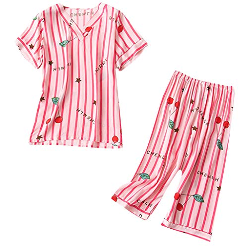QinMM Damen Nachtwäsche Nachtwäsche Cartoon Streifen V-Ausschnitt Kurzarm T-Shirt Hose Set - Valentines Day Pyjama-hose