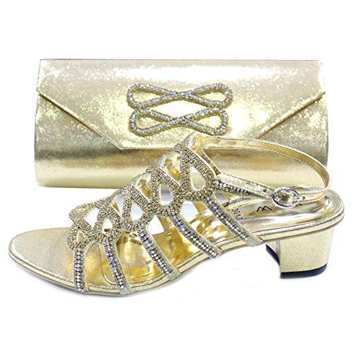 W & W femmes Mesdames Soir Sac Assorti et un confort Chaussures Diamante mariage talon bloc de bois de santal Chaussures Taille 4-10(RIVO & Mila) Doré