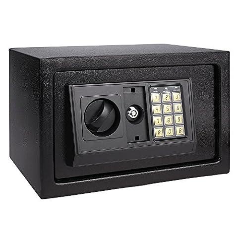 Homdox Coffre-fort avec serrure électronique 36X 26 X 26 cm, Noir
