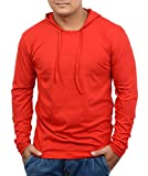 Fenoix Men's Hooded Full Sleeve RED Cotton T-Shirt