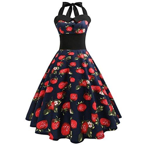 OverDose Damenkleider Neckholder Rockabilly 50er Vintage Retro Kleid Petticoat Faltenrock Abschlussball Kleider Festlich Cocktailkleider(A-Schwarz,EU-40/CN-XL) (Neckholder-kleidung)