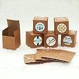 Adventskalender zum Befüllen 24 stabile Kraftpapier Schachteln 60x60mm und 24 Zahlenstickern 'Snowflake' blau, grau & gold