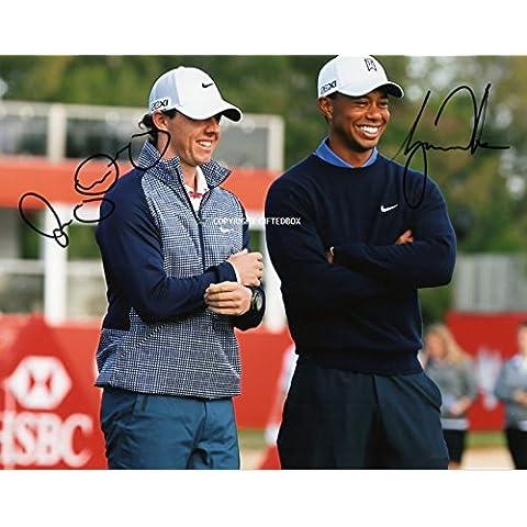 Giftedbox - Foto autografata, con certificato, di Rory McIlroy e Tiger Woods