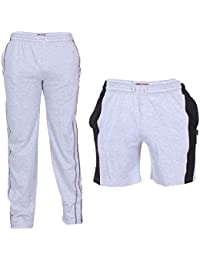 TeesTadka Men's Cotton TrackPants for Men and Shorts for Men Combo Offers Pack Of 2
