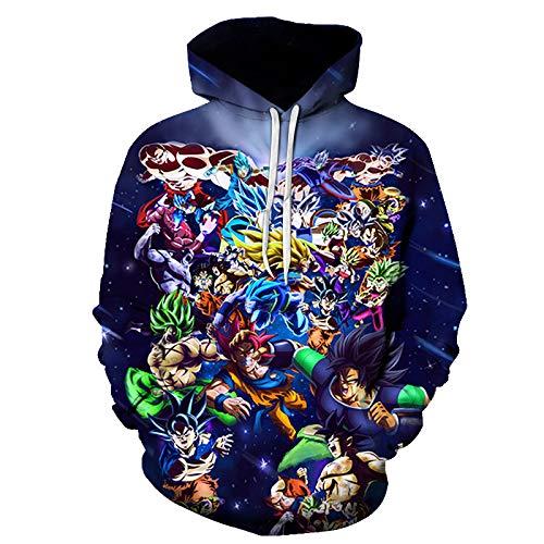 Herren Sweatjacke Kapuzenjacke Hoodie mit Kapuze Pullover mit Kapuze Sweatshirt Oversize Sweater Winterpullover Strickpullover für Männer3D Dragon Ball Sweater Y-2825 M