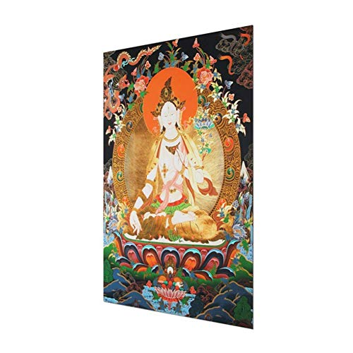 Tibet Thangka Tuch weiß Tara Buddha Buddhismus Wanddekoration Malerei Kalligraphie Home Office Decor - 80 x 40 cm ohne Rahmen