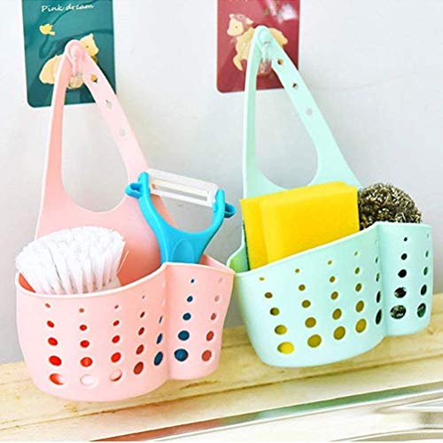 Meadows Hanging Drainage Bag for Kitchen Bathroom Sponge Soap Water Draining Hanging Holder Organizer for Faucet Sink, Caddy Organizer, Kitchen Accessories (Multi Color) Set of 2